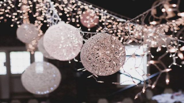 DIY fairy light ball hangings