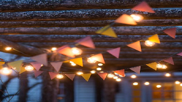 Lights with color full fabric flags